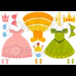 Mintás barkácsfilc - kivágható ruhák öltöztetős babákhoz - hercegnős