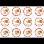 Befőző címke mintás barkácsfilc - eper - 60mm