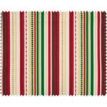 BeaLena pamutvászon - Red Green Golden Stripes - 1m