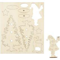 Csináld magad! fa furnér dekorációs készlet - Télapó, rénszarvas, fenyők