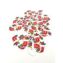Piros karácsonyi csizmák - színes fa formagomb csomag - 10db