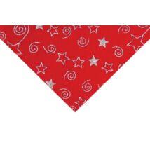 Csillámos barkácsfilc méteráru - piros alapon csillagok csigák