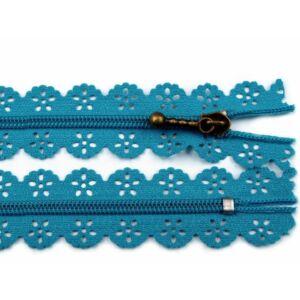 Csipkézett spirál cipzár - 20cm - kék