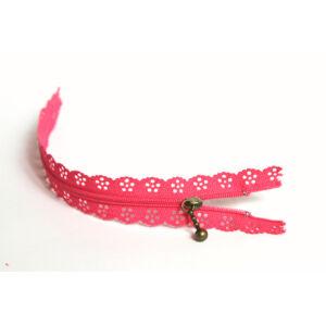 Csipkézett spirál cipzár - 25cm - pink