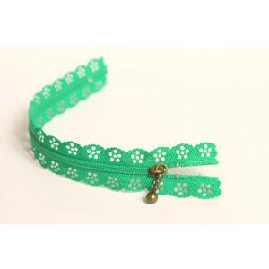 Csipkézett spirál cipzár - 20cm - zöld