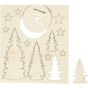 Csináld magad! fa furnér dekorációs készlet - karácsonyfák
