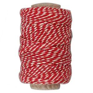 Piros - fehér sodrott pamut zsinór - pékzsineg - 22,5m