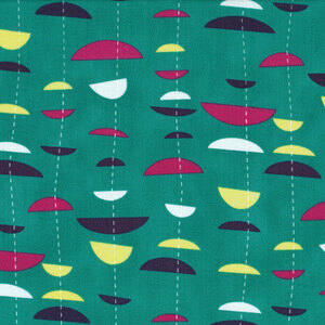 STOF fabric -  Uno Half Moon Stripe on Teal