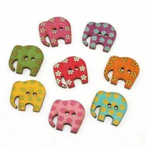 Elefánt formájú színes fa furnér gombcsomag