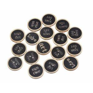 Fekete tábla mintás szöveges fa furnér gombok - 10db