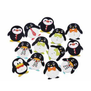 Pingvin formájú színes fa formagomb csomag