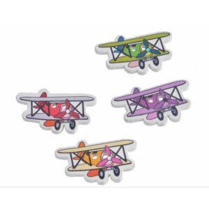 Repülő formájú színes fa formagomb csomag