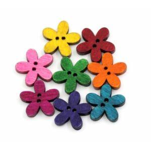 Színes virág alakú fagomb csomag - keskeny szirmú