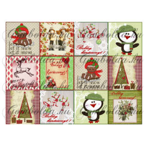 Négyzet mintás barkácsfilc - karácsony