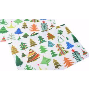 Karácsonyi mintás barkácsfilc - színes fenyők