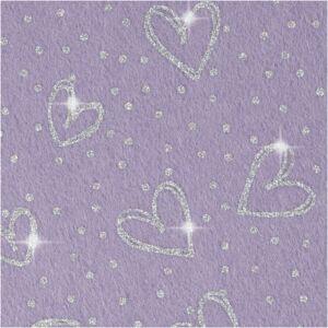 Csillogó szív mintás barkácsfilc - merev - lila