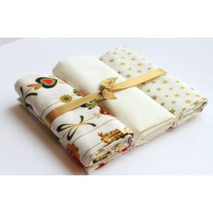 Mini pamutvászon csomag - Golden Stars and Birds on white