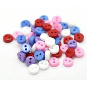 Egyszínű, színes műanyag gombcsomag - 6mm