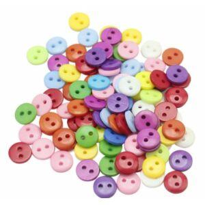 Egyszínű, színes műanyag gombcsomag - 9mm