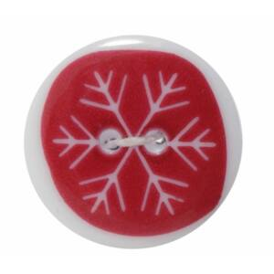 Karácsonyi gomb - Red Snowflake