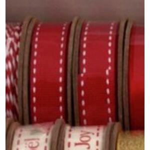 Piros tűzött ripsz/grosgrain szalag guriga