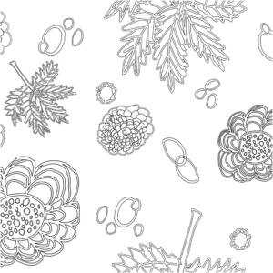 Glad Design pamutvászon - fekete fehér virágos