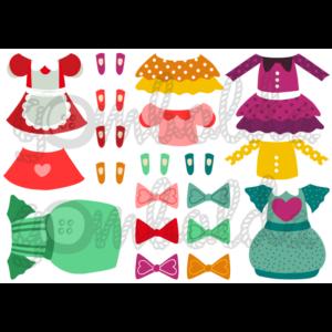 Mintás barkácsfilc - kivágható ruhák öltöztetős babákhoz - masnis kollekció