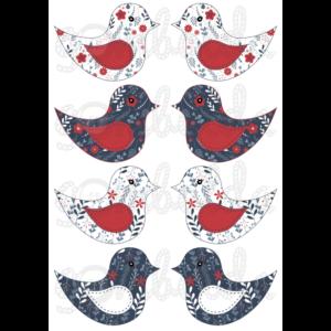 Mintás barkácsfilc - kivágható madarak sötétkék piros virágos