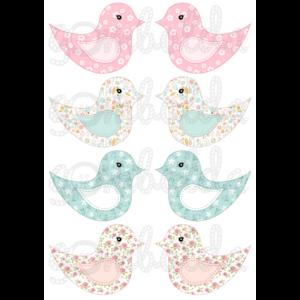 Mintás barkácsfilc - kivágható madarak kék és rózsaszín