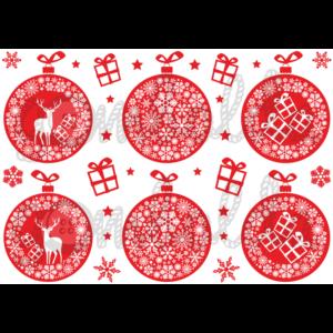 Mintás barkácsfilc - karácsonyi gömbök piros alapon