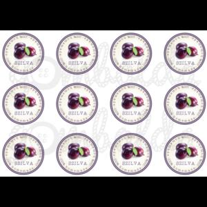 Befőző címke mintás barkácsfilc - szilva - 60mm