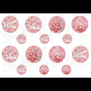 Mintás barkácsfilc - pink virágok