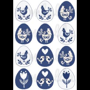 Mintás barkácsfilc - kék fehér tyúkocskák tojásokban