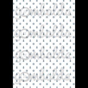 Mintás barkácsfilc - horgony fehér alapon alapon