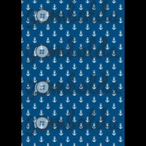 Mintás barkácsfilc - horgony kék alapon