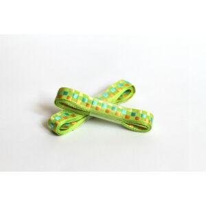 Kétoldalas zöld hímzett kockás szalag