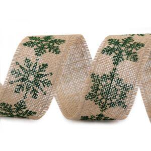 Zöld hópihe mintás juta szalag - 43mm