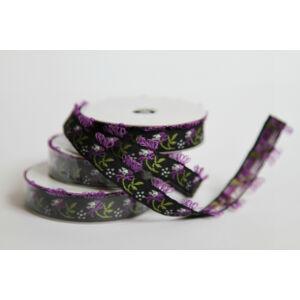 Fekete alapon lila rojtos szegélyes hímzett szalag - 2m