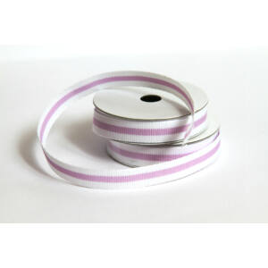 Fehér lila csíkos ripsz/grosgrain szalag - 2m