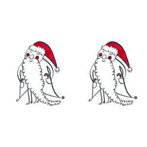 Karácsonyi mintás vászon panel - kis mikulások