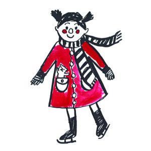 Karácsonyi mintás vászon panel - kislány