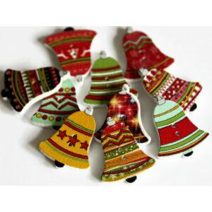 Karácsonyi harangok - színes fa formagomb csomag