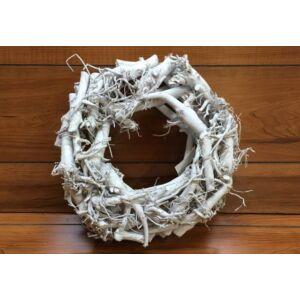 Rusztikus fehér rőzsekoszorú - 30cm