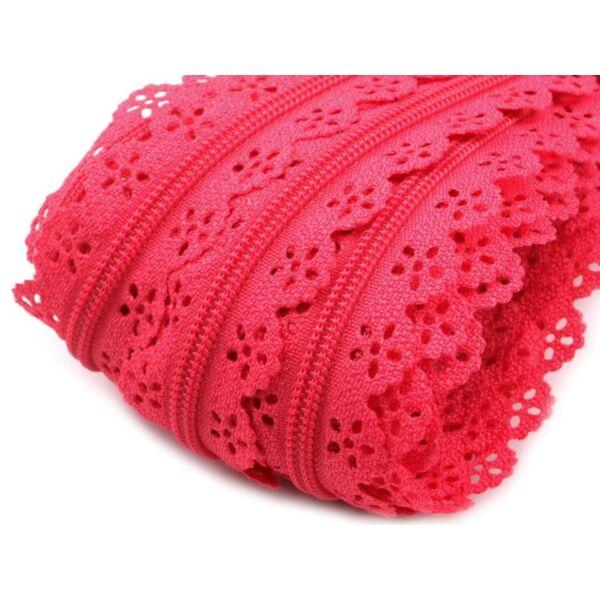 Csipkézett spirál cipzár folyóméterben - pink