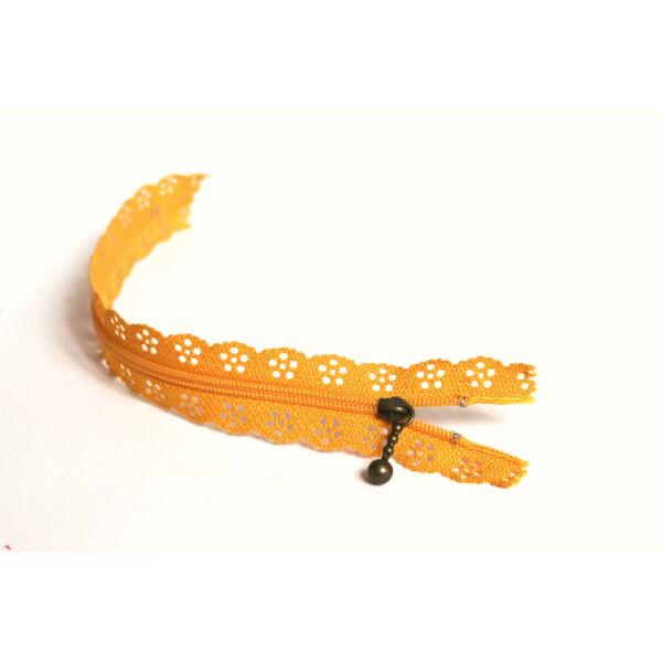 Csipkézett spirál cipzár - 30cm - narancssárga