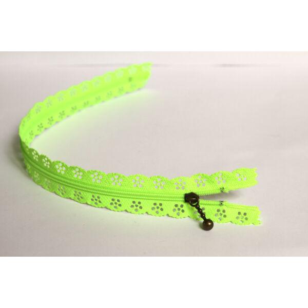 Csipkézett spirál cipzár - 30cm - neon zöld
