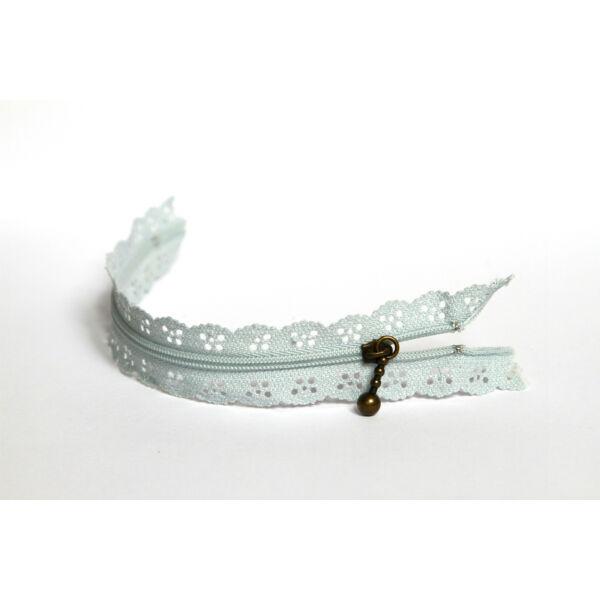 Csipkézett spirál cipzár - 20cm - világosszürke