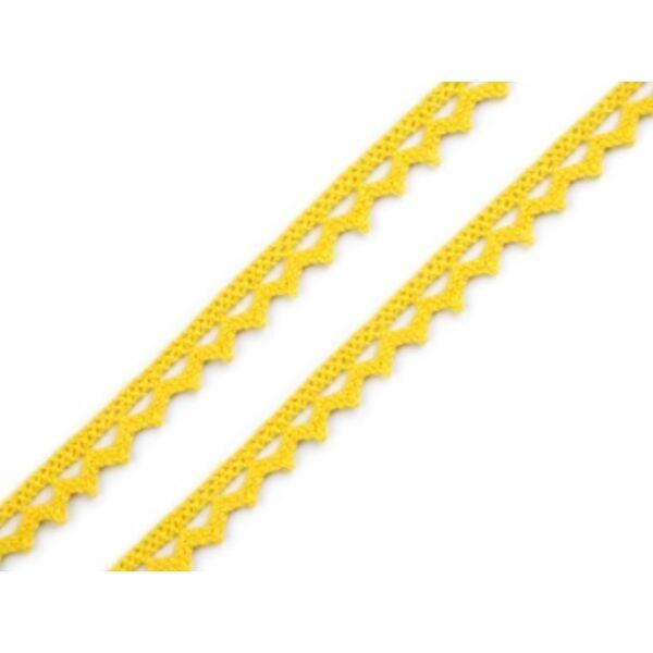 Sárga pamut vertcsipke szalag - 8mm
