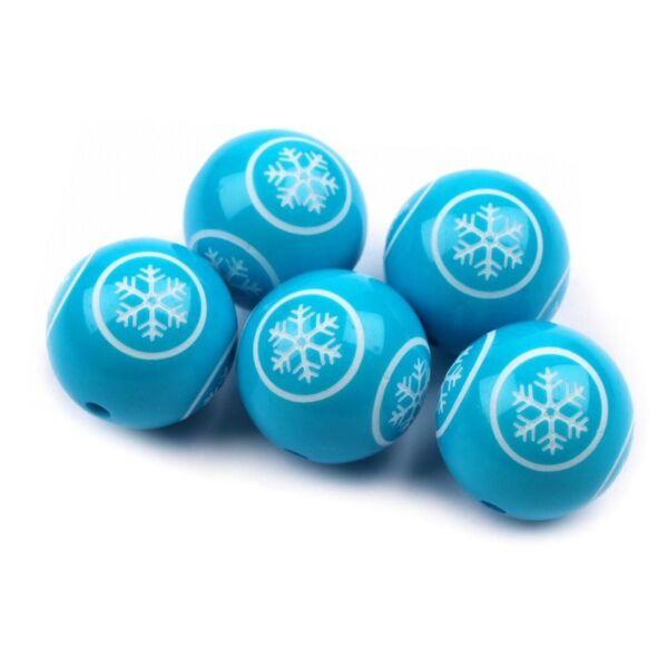 Kék hópihe mintás dekor gyöngy - 18mm
