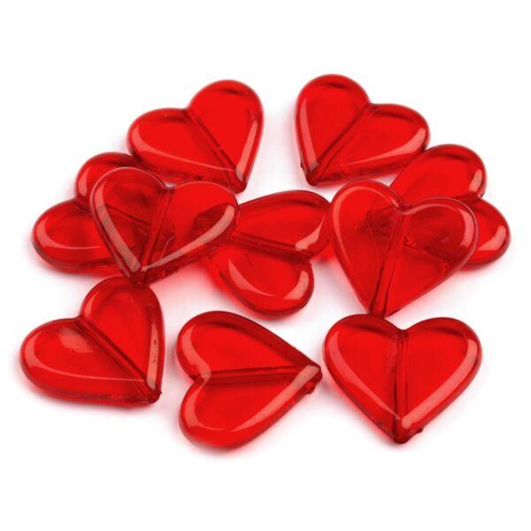Szív formájú műanyag dekorációs csomag - piros